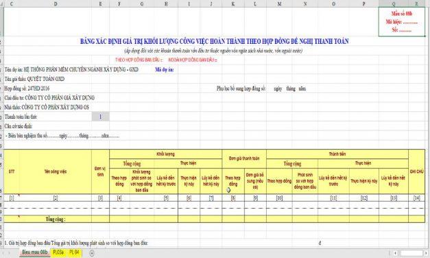 Biểu mẫu số 08b bảng xác định giá trị khối lượng công việc hoàn thành