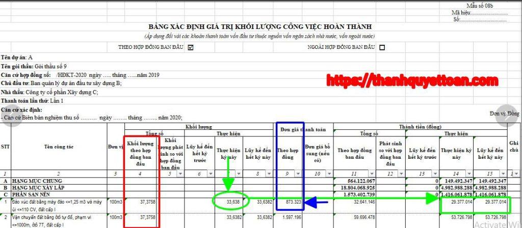 Biểu 08b thanh toán khối lượng hoàn thành - Nghị định số 11/2020/ND-CP