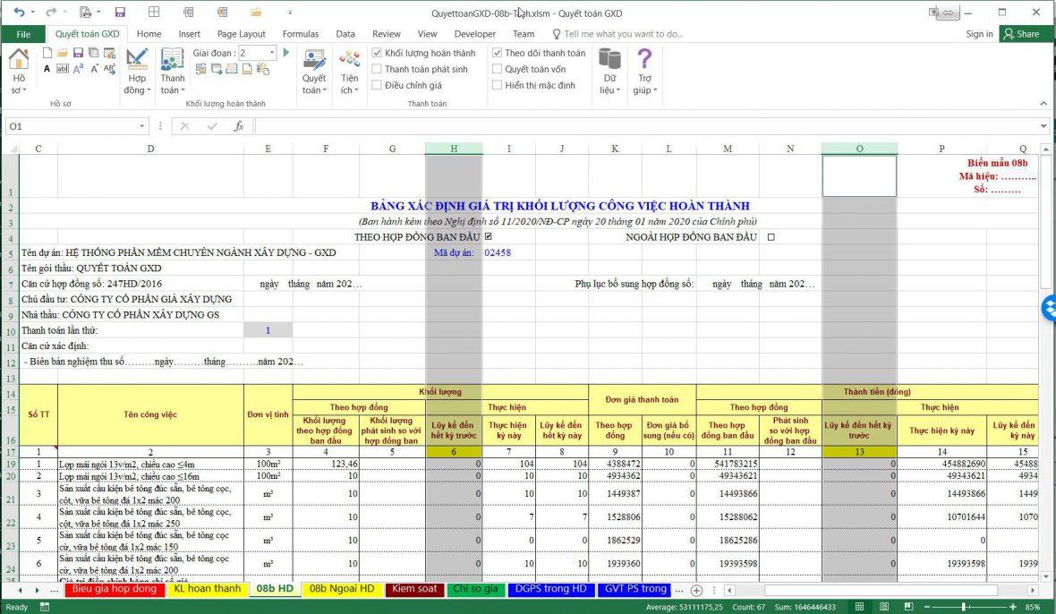 Thanh toán lần 1: Để 0 tại cột lũy kế khối lượng hoàn thành đến cuối kỳ trước